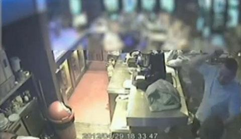 CCTV footage from Caps Bar in Western Road, shows White re-enacting the stabbing