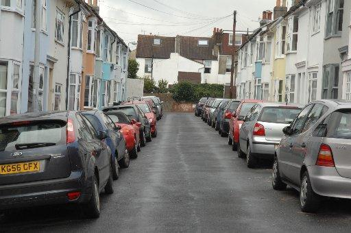 Cars parked on both sides of Toronto Terrace, Brighton