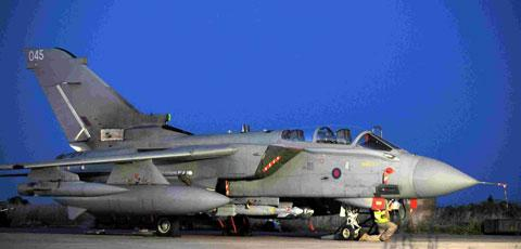 A Tornado GR4 armed with Paveway IV bombs