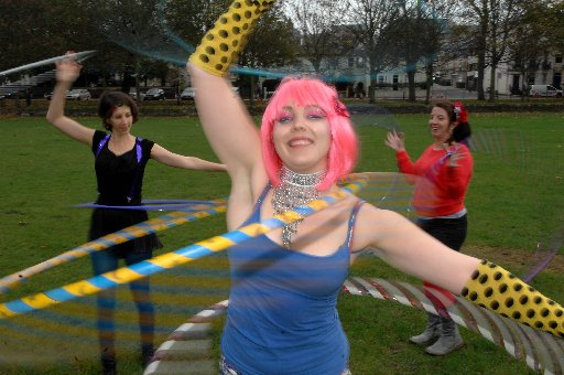 Jo Mondy leading hula hoopers at the World Hoop Day celebrations in 2011