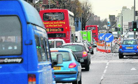Traffic backed up along Lewes Road, Brighton