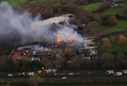The fire at Marlie Farm near Lewes in December 2006
