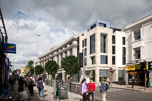 A computer generated image of the development approved for London Road, Brighton