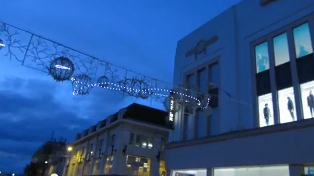 Rude and offensive images can be seen in a video of Brighton's Christmas lights