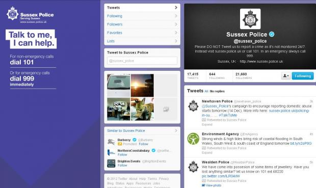 Domestic violence incidents tweeted live by Sussex Police