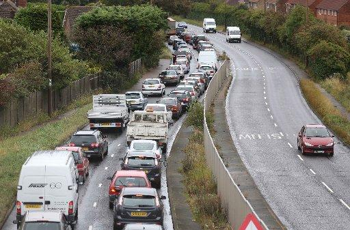 Traffic backed up on the A27 due to roadworks between the Sussex Pad and Sompting – Picture by Eddie Mitchell
