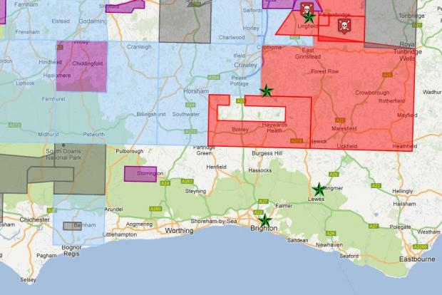 Colours show the areas covered by different companies – Cuadrilla (red), Magellan |Petroleum Corporation (blue), iGas Energy Ltd (purple) plus PR Singleton (grey) Midmar Energy (grey), Northern Energy (grey) and Northern Petroleum (grey)