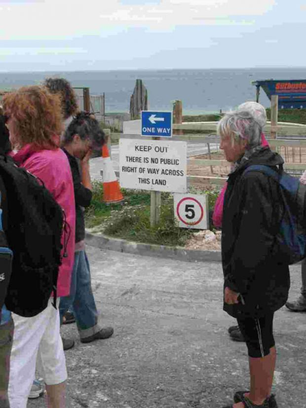 Ramblers at the former footpath on the cliff tops between Brighton and Peacehaven – Picture by Ian Parsons