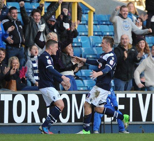 Chris Wood, right, has scored eight in 17 games for Millwall