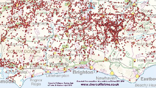 The Argus: Collision locations in Sussex during the past 10 years