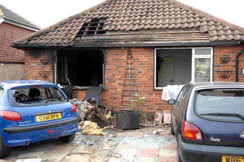 Damage at Mike Howard's home in Hillrise Avenue, Sompting