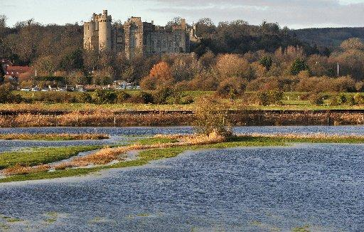 Flooded fields in Arundel last year