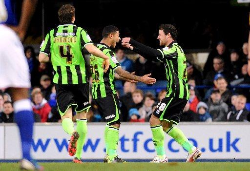 Wayne Bridge celebrates scoring against Ipswich yesterday. Picture by Simon Dack