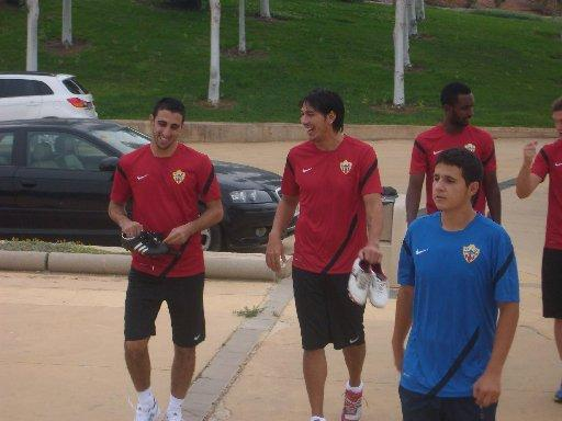 Leonardo Ulloa (carrying white boots) is still working with Almeria - but for how much longer?