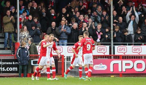Nicky Adams celebrates putting Reds in front