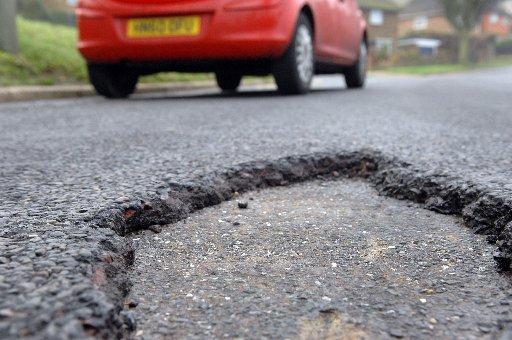 One of the potholes on Carden Hill, Brighton