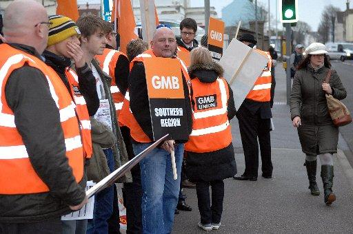Workers protest outside Royal Sussex County Hospital in Brighton