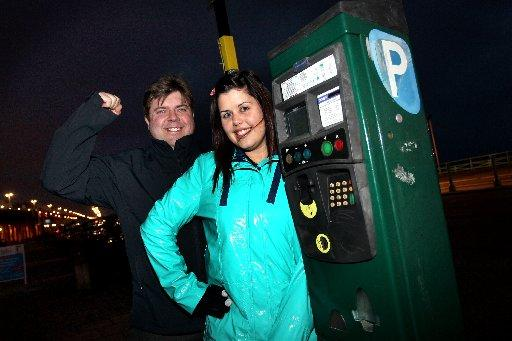 Campaigners Max Leviston from Brighton Sea Life Centre and Laura Sackett celebrate the news