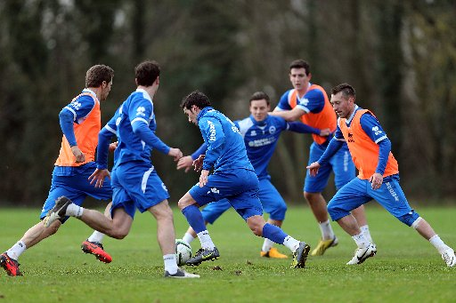 Vicente trains with Albion's first team yesterday. Picture courtesy of Paul Hazlewood