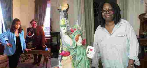 Whoopi Goldberg with her Liberty cake