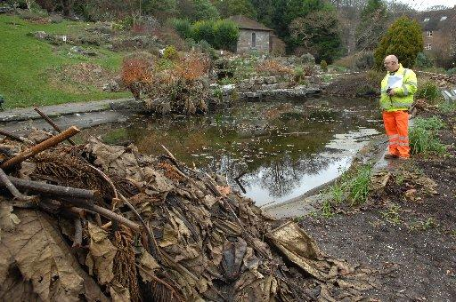 Work has started to repair the Preston Park rockery pond