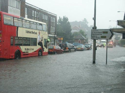 Flood water in Uckfield town centre – Picture by Michael Lunn