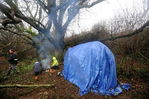 Protesters camped out at Combe Haven Valley