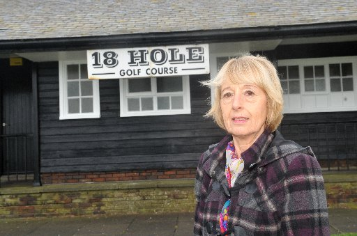 Rottingdean Pitch and Putt course, the hole have been filled in with concrete. Cllr Lynda Hyde at a loss to why
