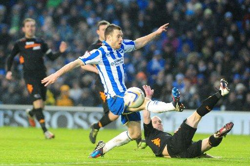 The Argus: Ashley Barnes goes close against Derby