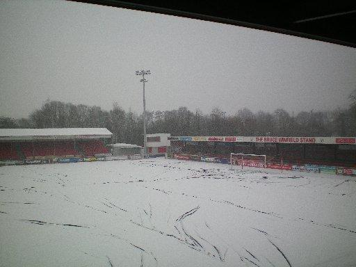Crawley Town's pitch this morning