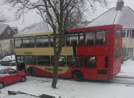 Bus stuck in snow