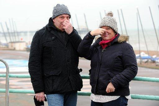 Jim Clarke and Lynn Jackson noticed the pong during a stroll along Brighton seafront