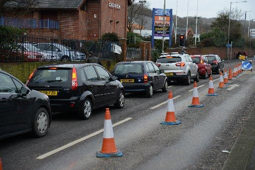 Traffic is backed up causing lengthy delays during the rush hours along Lewes Road, Brighton