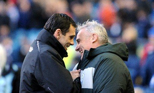 Dave Jones and Gus Poyet are all smiles before the game
