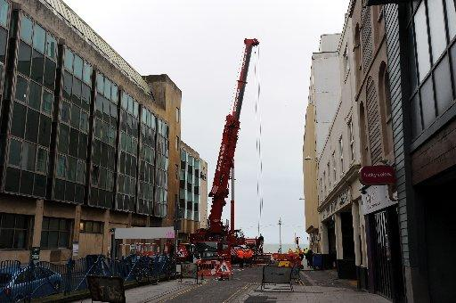 The crane blocked Black Lion Street for seven hours