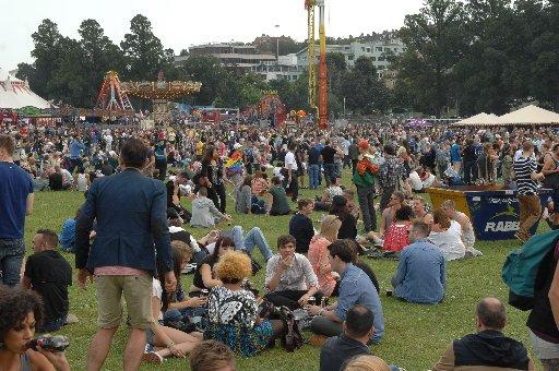 Revellers in Preston Park at Brighton Pride 2012