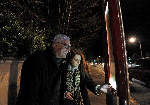 Coun Ian Davey and Shelley Atlas try one of the newly installed stops