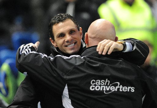 Gus Poyet celebrates the win over Hull