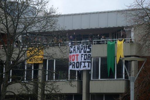Students occupying the top floor of Bramber House
