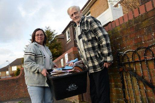 Lesley King and Edward Cope with their recycling box