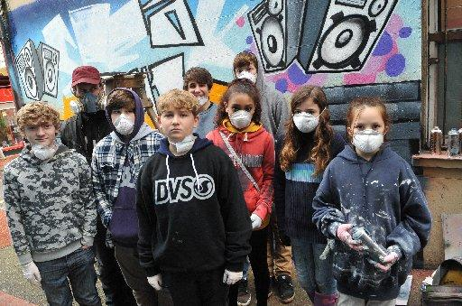 Teenagers from the Brighton Yout Centre created a mural as part of Sussex Police's Talk To Us campaign