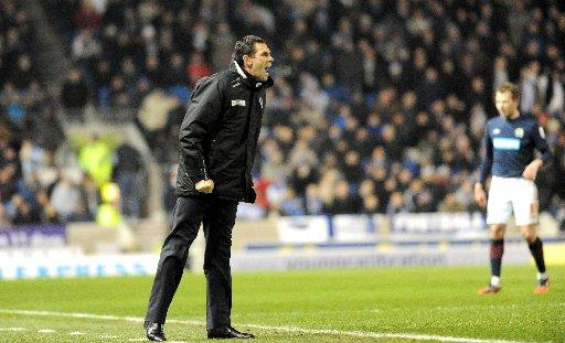 Gus Poyet bellows instructions during Albion's draw with Blackburn