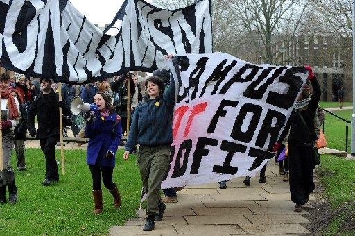 Students protesting against privitisation of campus jobs at University of Sussex