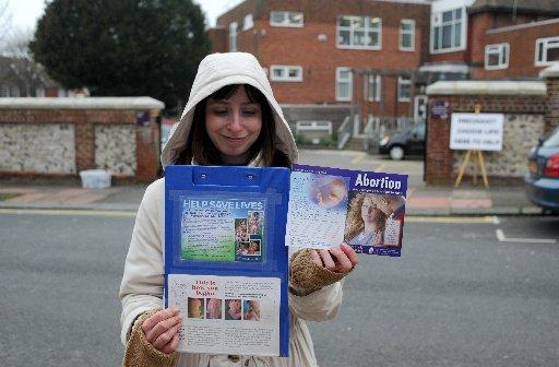 An anti-abortion campaigner outside Wiston clinic in Brighton