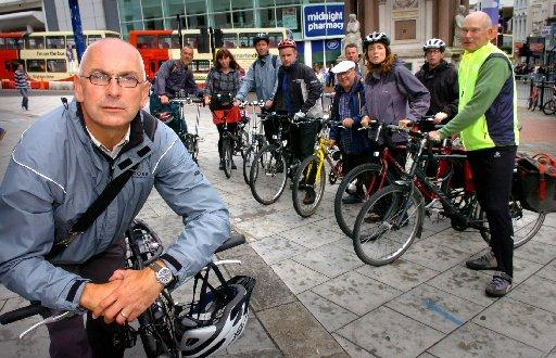 Councillor Ian Davey with other Brighton and Hove cyclists