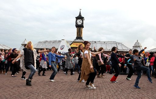 Dancers at the Palace Pier taking part in the One Billion Rising flash mob