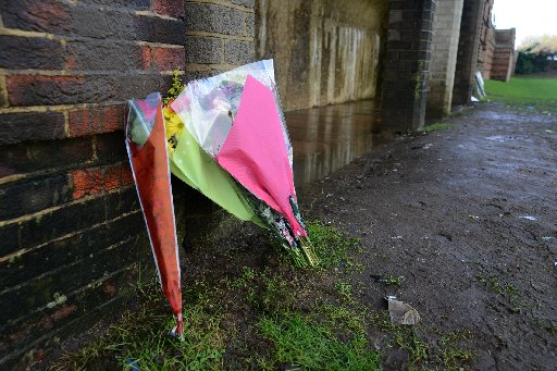 Flowers laid at the murder scene