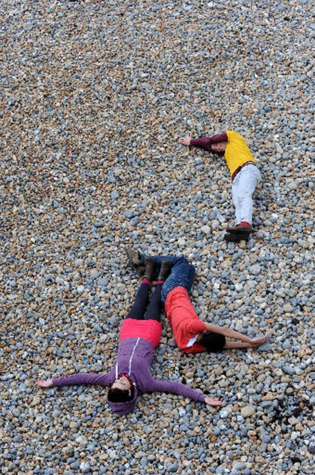 Human Tetris on Brighton beach