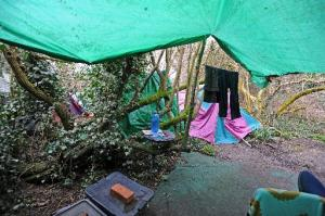 The illegal Neverland encampment in Benfield Valley, Hove