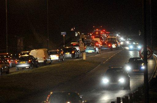 Traffic backed up on the A259 at Ovingdean roundabout yesterday